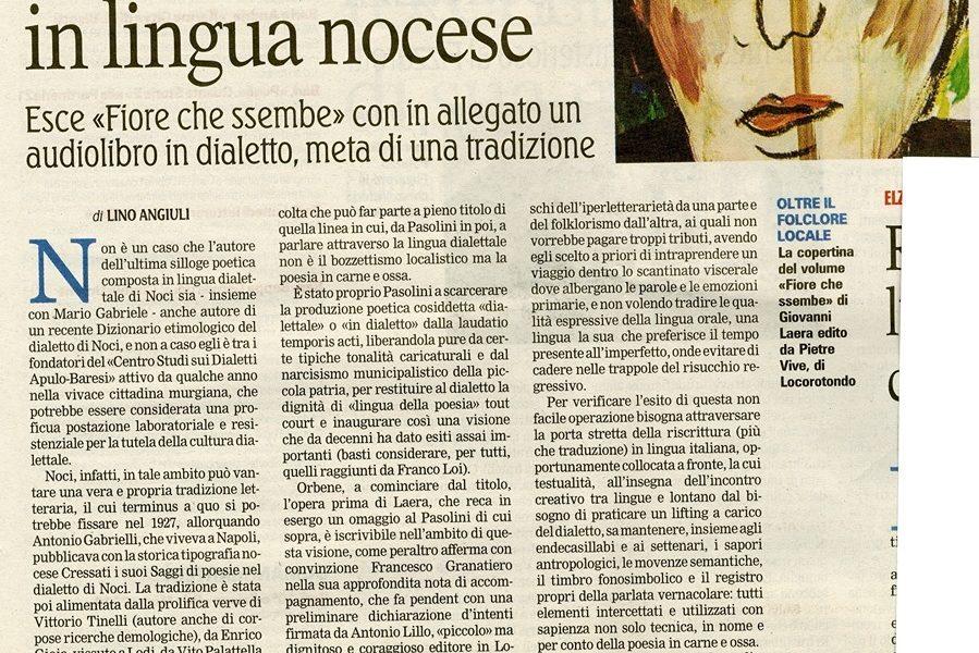 Lino Angiuli scrive di Giovanni Laera sulla Gazzetta del Mezzogiorno